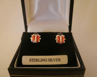 Sterling Silver Ladybird Earrings Silver Enamel Irish Jewellery