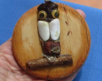 Vintage Owl Wooden Refrigerator Magnet TLC