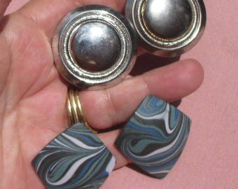Vintage Ceramic Swirled Pierced Earrings Metal Round Clip On Earrings