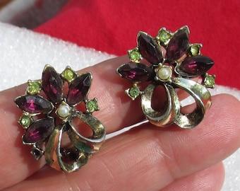 Vintage Flower Purple Green Rhinestone Faux Pearl Clip On Earrings TLC Missing Rhinestone Flaking