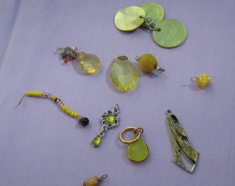 Lot Of Retro Salvaged Yellow Colored Dangles Pendants Beaded Dangles