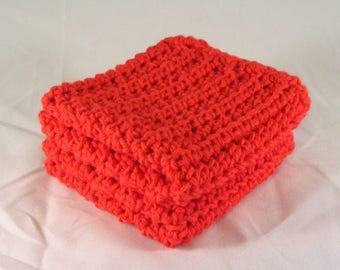 Orange Handmade Washcloth Spa Set, Dish Towels, Spa Cloths, Crochet Washcloth, Cotton Washcloths, Facial Cloths, Housewarming Gift Ideas