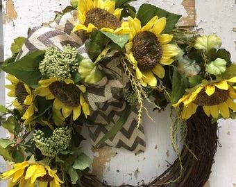 Sunflower Wreath, Rustic Summer Wreath, Front Door Wreath, Yellow Wreath