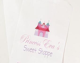 ON SALE Castle Themed Birthday Favor Bags, Princess Birthday, Candy Buffet Bags, Birthday Treat Bags