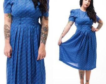 Vintage 80's Karin Stevens Blue Leaf Print Rayon Pleated Midi Dress / Size S-M