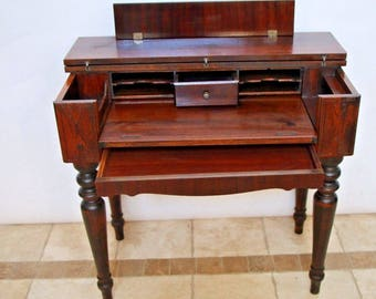Gorgeous Solid MAHOGANY Spinet Library Desk hidden bottom drawer turned legs, safe and Insured nationwide shipping available call for rates