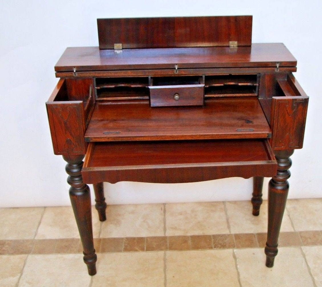 🔎zoom - Gorgeous Solid MAHOGANY Spinet Library Desk Hidden Bottom