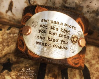 She was a storm - hand stamped - leather belt cuff