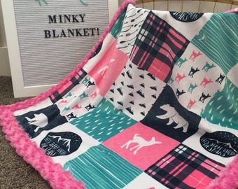 Minky Moose baby blanket