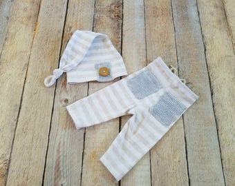 RTS - Newborn Tan & Cream Boy Neutral Upcycle Outfit Pants Set Baby Boy Hat Photo Prop  - Ready to Ship