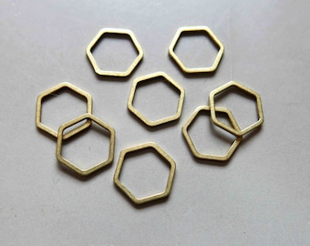 100pcs Raw Brass Hexagon Rings, Findings 12mm - F178