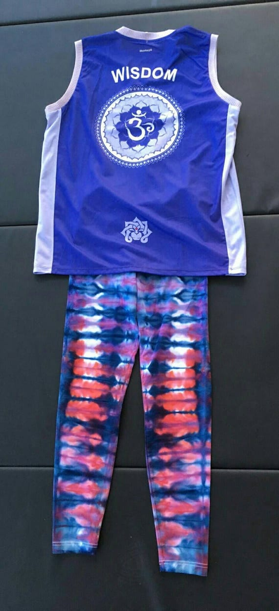 Tie Dye Leggings/Hand Dyed/Ice Dye/Womens Tie Dye/Peacock Blue,Watermelon & Purple/Eco-Friendly Dying