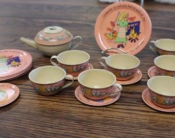 1930s Cinderella Tin Toy Tea Set By Ohio Art, Vintage Ohio Art FB Peat Litho Tea Set