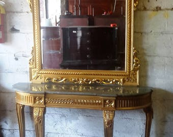 Vintage French style gilt mirror and console table with marble top - almost 8' tall and stately