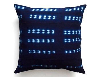 Double sided mud cloth pillow, Indigo Mudcloth Pillow Cover  - REF: INDIGO3