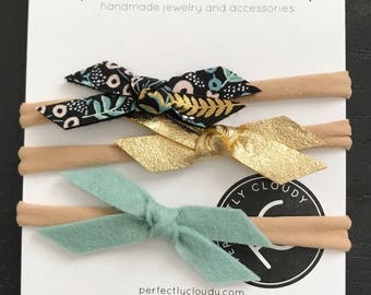 MIDNIGHT FLORAL mini set || pigtail bows - baby bows - girl hair clip - bows with clip -bow set - little girl headbands - felt bow - bow ali