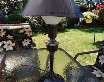 Oil Rubbed Bronze Lamp Toleware Lamp 1950's Vintage