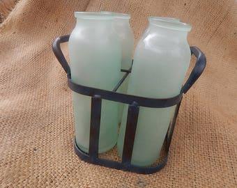 Vintage Milk Bottle Carrier Navy Metal Rustic 4 Sea Glass Jars