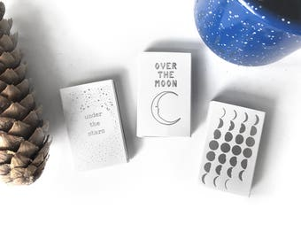 Celestial Matchbox Trio. Over the Moon, Under the Stars, Moon Phases Matchbooks. Moon and Stars Decor. Starry Night, Stargazing Party Favors