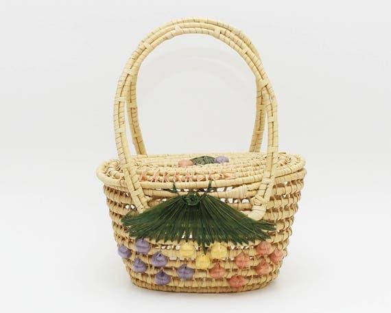 Vintage 1960s Boho Floral Woven Basket Purse