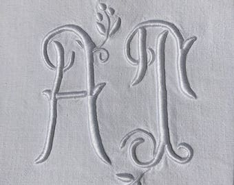 Large embroidered sheets, monogramm AT , white, vintage, French