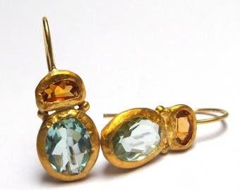 Aquamarine Earrings - Citrine Earrings - Gold Earrings - 24K Gold Earrings  Dangle earrings - Free Shipping!!