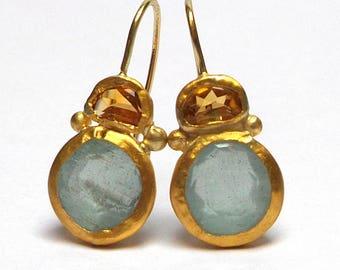 Aquamarine Earrings - Gold Earrings - 24 K Solid Gold Earrings - Earrings -Citrine Earrings - Seeds Collection - Free Shipping!
