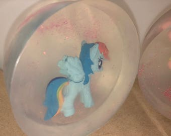 My Little Pony crystal clear soap bar, sparkle soap bar, glittery soap bar, toy in soap, gift for girl