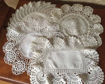 Vintage Linens Lot A, 4 Doilies, Wide Crochet Borders, Grandmas Hope Chest, Cottage, French Country, Farmhouse, Creative Spirit, ShabbyChic