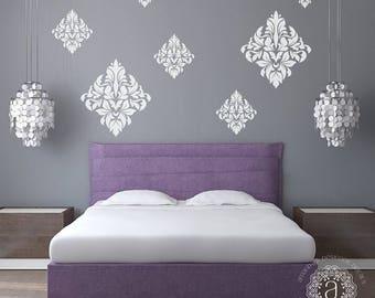 CLEARANCE SALE Bedroom Wall Decal, Bedroom Decor, Ornate Wall Decal, Damask Vinyl Decal, Bedroom Wall Decals, Wall Stickers, Vinyl Decals, W