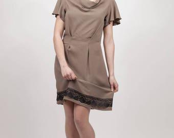 khaki dress with cowl neck Black Lace