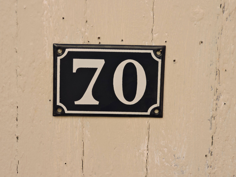Popular Vintage French Enamel House Number 70- French Address Sign  VY83
