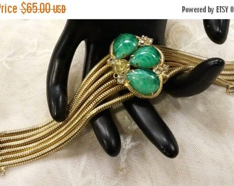 ON SALE Beautiful Vintage Green Marbled Art Glass and Clearand Citirine Coloured Multi Snake Chain Bracelet