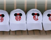 Monogrammed Disney Cap-Family Disney Hats- Custom Mrs.Mouse Or Mr.Mouse Ballcap- Disney Vacation Ball Caps-Velcro Closure Cap-