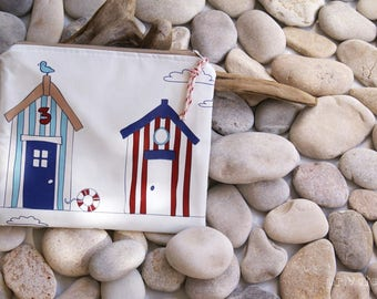 SALE -20% Makeup bag, Cosmetic Bag, Beach Design, Waterproof Fabric, Small Beach Pouch. Excellent Gift Idea!