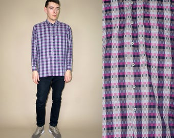90's vintage men's colorful checked shirt