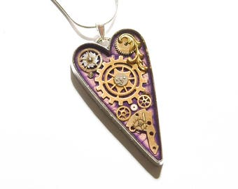 Steampunk Purple Heart Pendant / Necklace Watch Parts, Cogs, Gears in Resin, Sterling Silver Chain