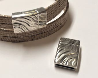 SALE:  10mm Flat Leather Sterling Silver Plated Magnetic Clasp, Wavy Design, jewelry finding, jewelry craft supplies, bracelet finding