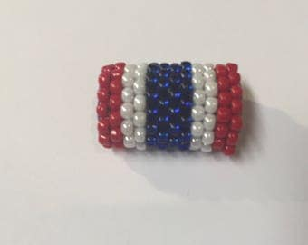 SALE: Red White and Blue Handmade Beaded Slider Tube, Versatile,10mm Flat leather or Half round finding, Jewelry supplies