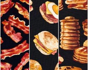 FOOD Bacon, Pancakes, & Breakfast Sandwiches Cotton Fabric!! [Choose Your Cut Size]
