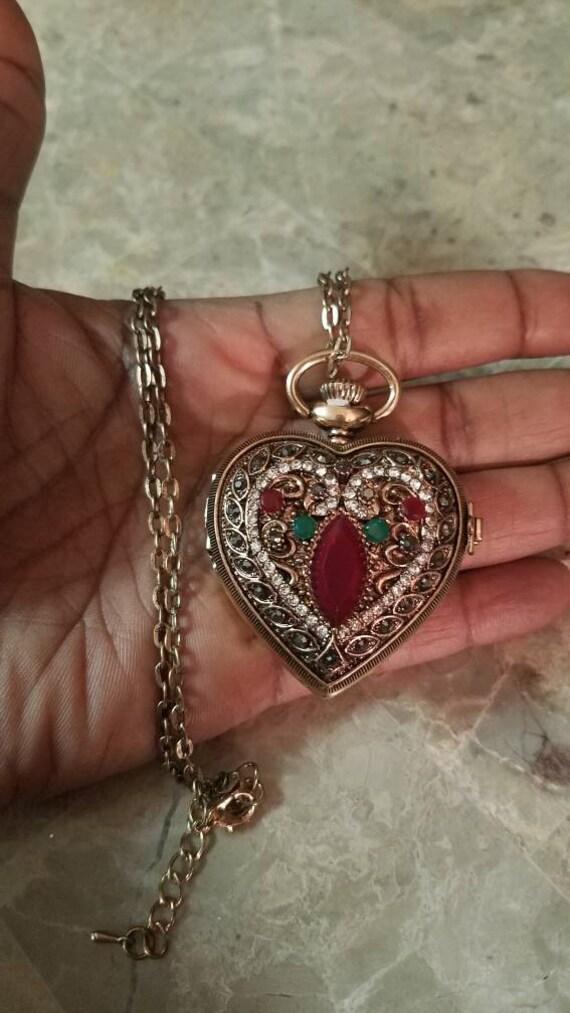 Victorian vintage antique heart locket pocket watch necklace te gusta este artculo aloadofball Choice Image