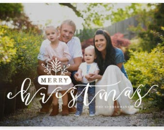 Merry Christmas Farmhouse Holiday Photo Christmas Card Personalized Holiday Card
