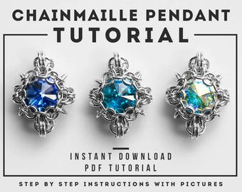 Chainmaille pendant tutorial - PDF tutorial - Jewelry tutorial - instant download - Rivoli chainmaille pendant