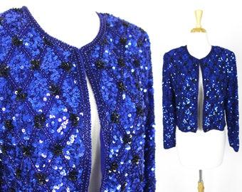 Vintage Sequin Jacket Blue Crop Stenay Blazer