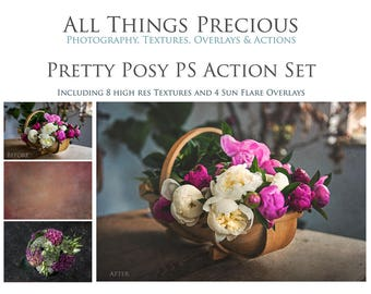 23 Actions, 8 High Res Textures 4 Sun Flare Overlays. Fine Art Digital PRETTY POSY ACTIONS Set.