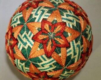 Brand new Green w/ green & white triangle, 12 peach flowers Japanese Temari Ball