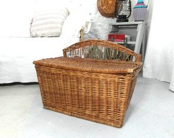 large wicker hamper laundry basket storage basket rattan case french vintage lidded