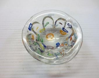 Italian Murano Glass Millefiori Ashtray Mid Century Modern Art Glass