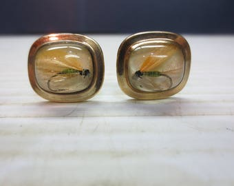 Vintage Hayward Fly Fishing Cuff LInks 1/20 12K Gold Filled