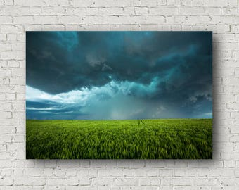Canvas Print, April Showers Canvas, Weather Canvas, Spring Wheat Canvas, Kansas Wall Decor, Storms Wall Canvas, Wall Art Clouds, Canvas Art